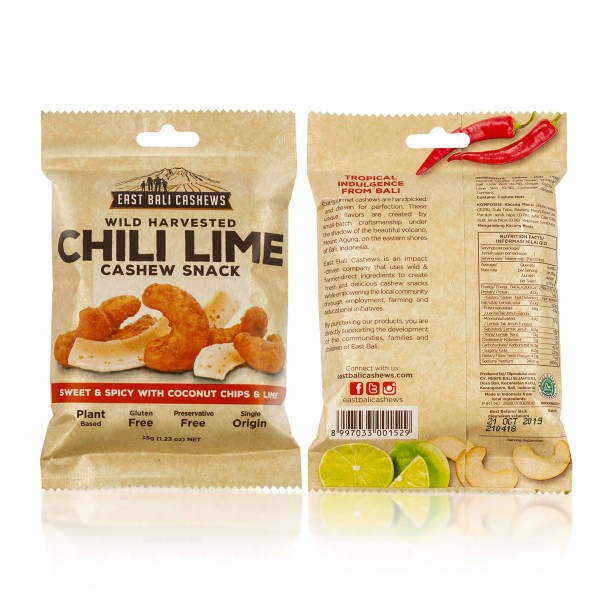 Cashews with lime, chili and coconut chips