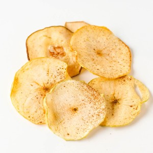 Dehydrated apple in slices with cinnamon